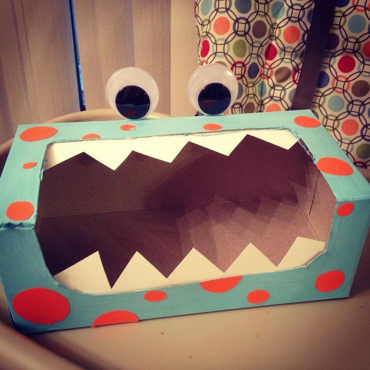 Little monster 1st birthday! Cute monster utensil holder made from a tissue box.(: