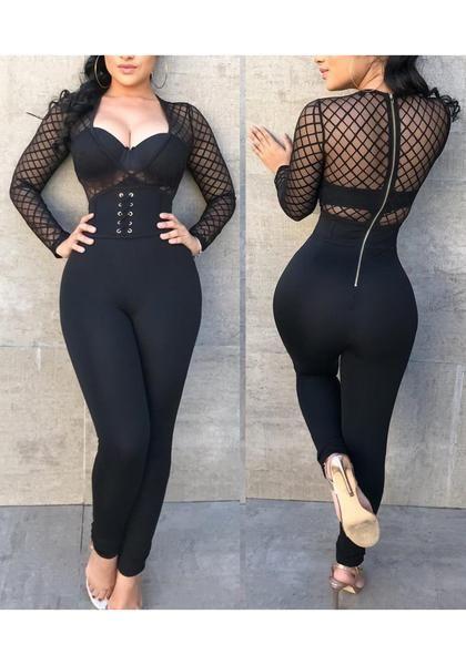 552483ac6d0 Black Grenadine Zipper Lace-up Clubwear Deep V-neck Bodycon Party Long  Jumpsuit