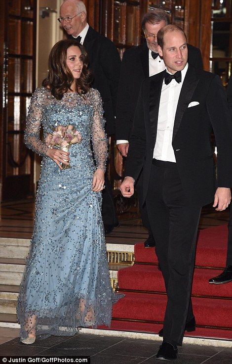 Royal exit: The Duke and Duchess of Cambridge were pictured as they left theRoyal Variety...
