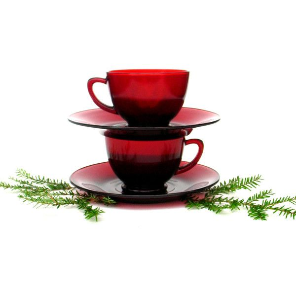 Vintage Ruby Red Tea Set Cranberry Glass Tea Cups American Cape Cod... ($25) ❤ liked on Polyvore featuring home, kitchen & dining, drinkware, holiday glassware, glass glassware, cranberry glassware, glass tea set and red tea cups