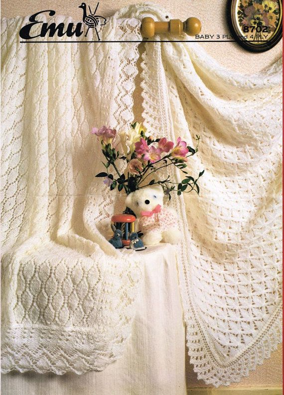 Free Knitting Pattern Baby Christening Shawl : baby shawls christening vintage knitting pattern PDF instant download Vinta...