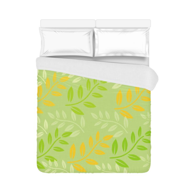 "Green sage and orange Duvet Cover 86""x70"" ( All-over-print)"