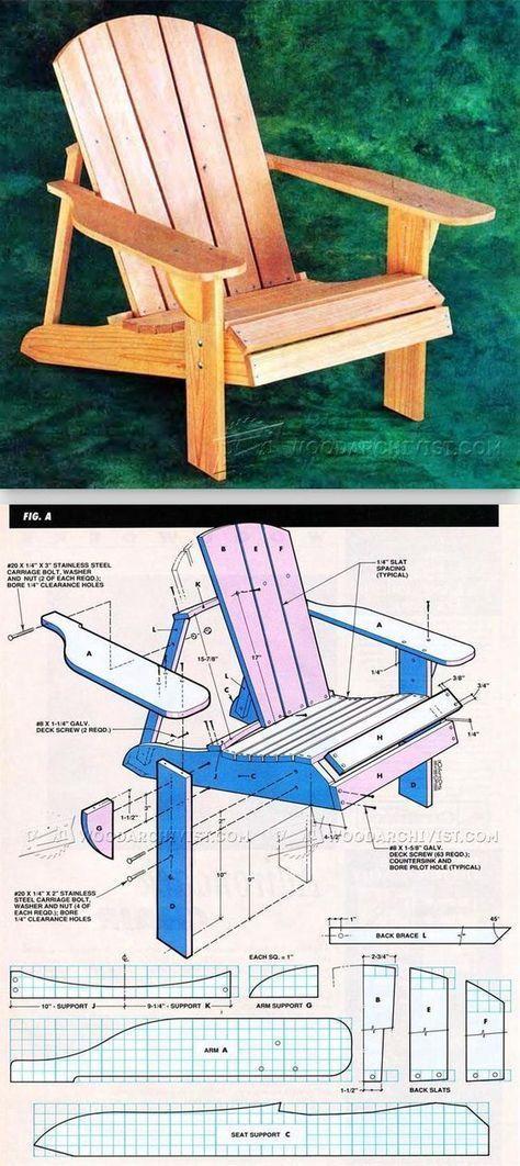 Classic Adirondack Chair Plans Exteriérový nábytok