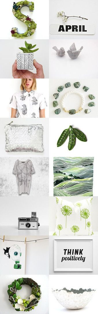 Going Green by pooka design shop on Etsy--Pinned with TreasuryPin.com #etsy #shop #green #grey #white