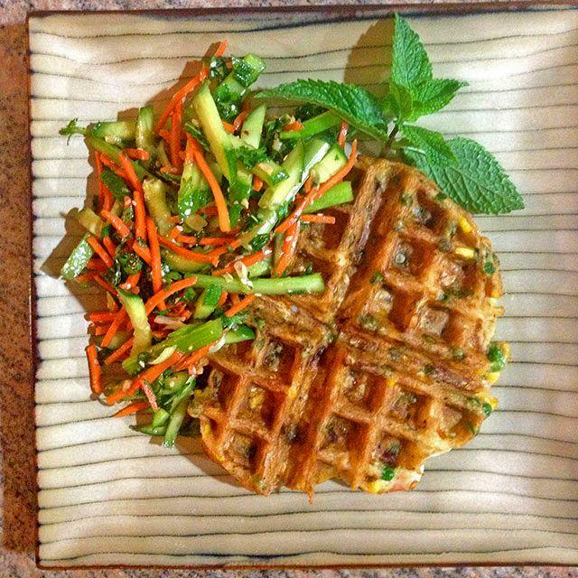 Thai Shrimp Waffle with Spring Salad - keviniscooking.com