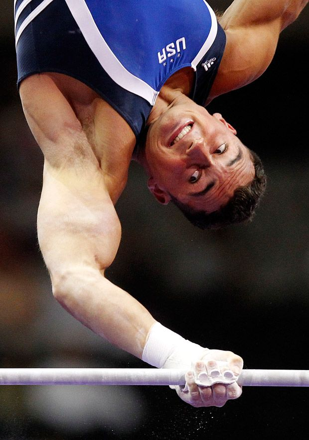 Brandon Wynn Competes In The High Bar During First Round Of 2012 Mens Olympic Trials Gymnastics At HP Pavilion San Jose