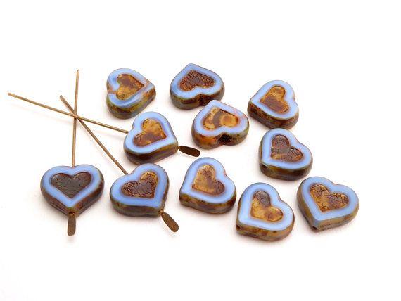 10 x cuore blu viola tavolo taglio vetro ceco perline, perline cuore panna…