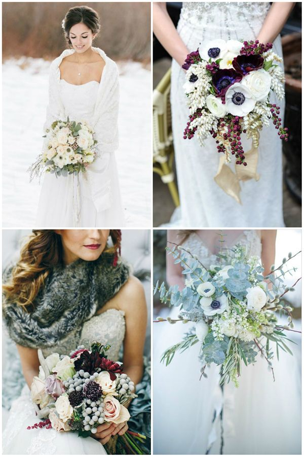 other fave -- bottom left bouquet -- love the white winterberries, those pinecones, and the flowers