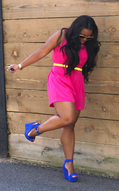 "color blocking, hot pink dress, cobalt blue wedges    #thick   #curvy   ""if you follow my Curvy Girl's Spring/Summer Closet, make sure to follow my Curvy Girl's Fall/Winter Closet.""   http://pinterest.com/blessedmommyd/curvy-girls-fallwinter-closet/"