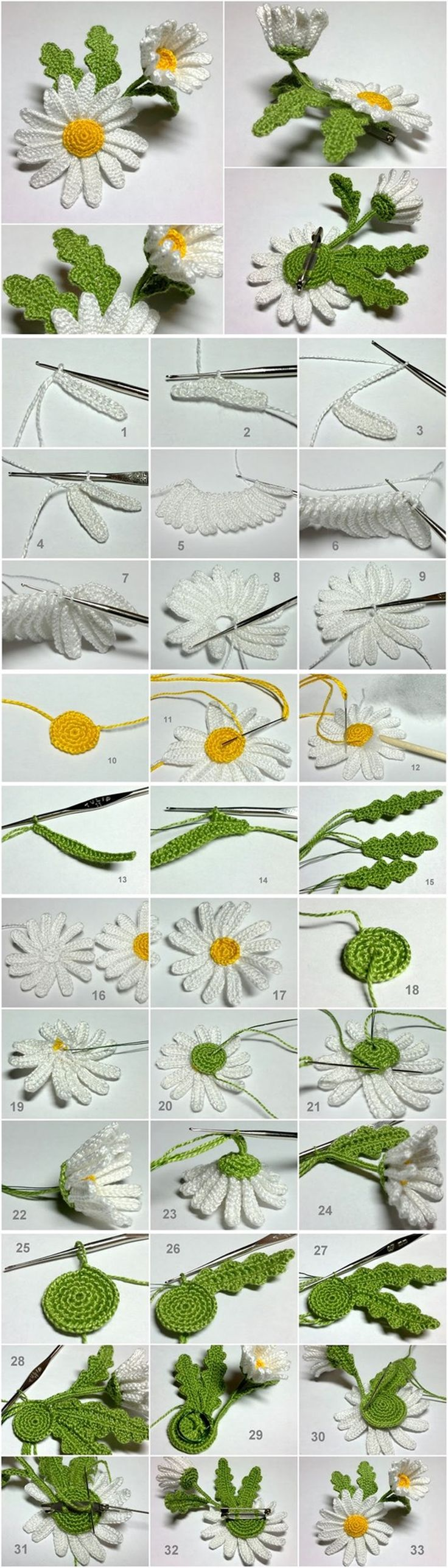 crochet 3D daisy tutorial