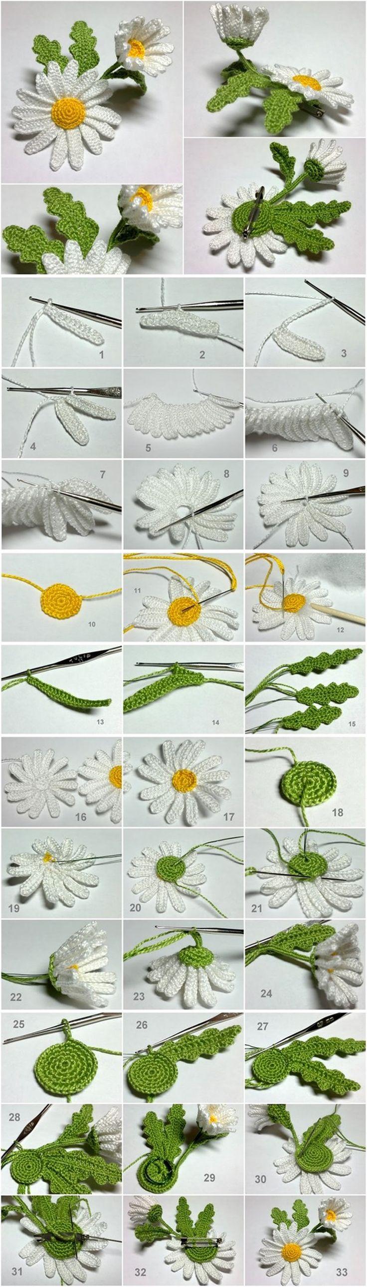 crochet 3D daisy tutorial
