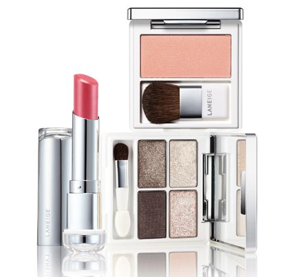 laneige pure radiant shadow, pure radiant blush and serum intense lipstick