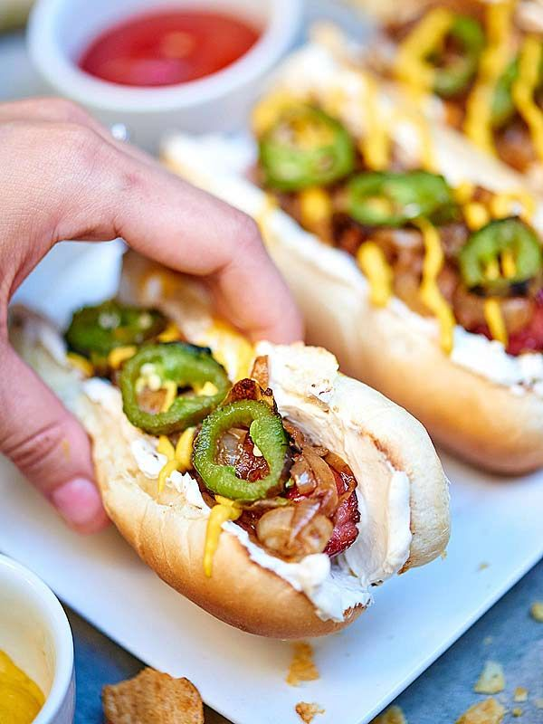 Seattle Dog - with caramelized onions and cream cheese (and maybe some spicy jalapeños)