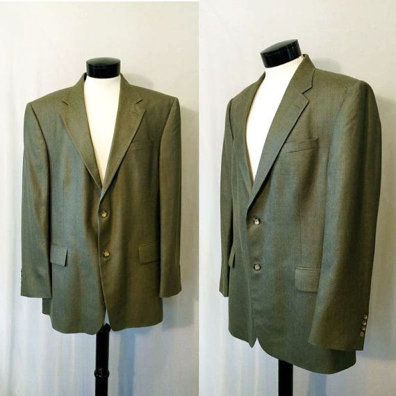 Mens Vintage Oscar De La Renta Sport Coat // Lambswool Sports coat // Designer blazer // Olive Green Mens Dress Jacket Large (47 - 48)