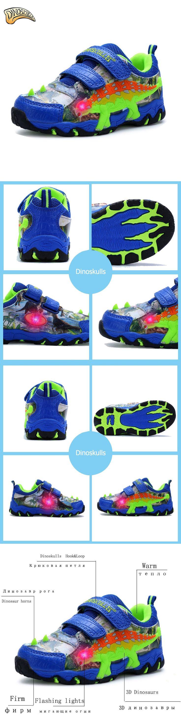 Dinoskulls New Summer Kids Sport Shoes Children Sneakers Breathable Tenis Led Lights Boys Running Shoes 3D Dinosaur Shoes 27-34