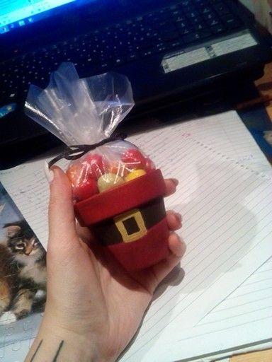 Mikulás csoki cserèp csomag karácsony diy 2015