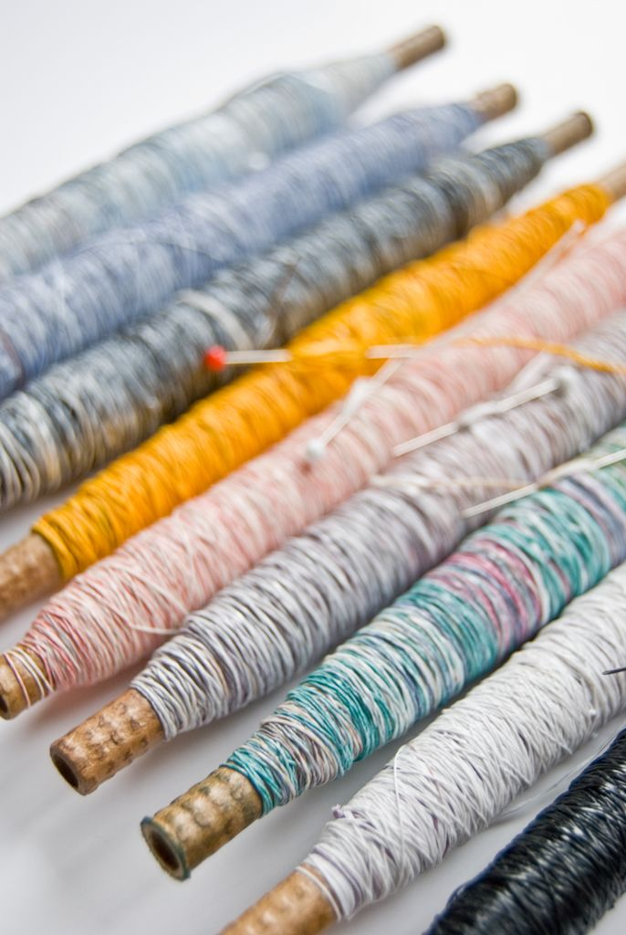 Michelle Baggerman's Precious Waste Project. Shredded and Spun everyday plastic bags, beautifully transformed into colourful threads.