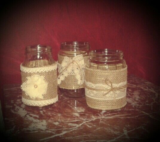 Bottle jars with burlap and lace!!diy!!