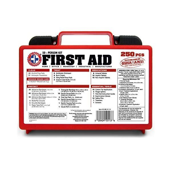 Be Smart Get Prepared 250piece First Aid Kit Exceeds Osha Ansi Standards For 50 People Office Home Car School Emergency In 2020 First Aid Kit First Aid Aid Kit