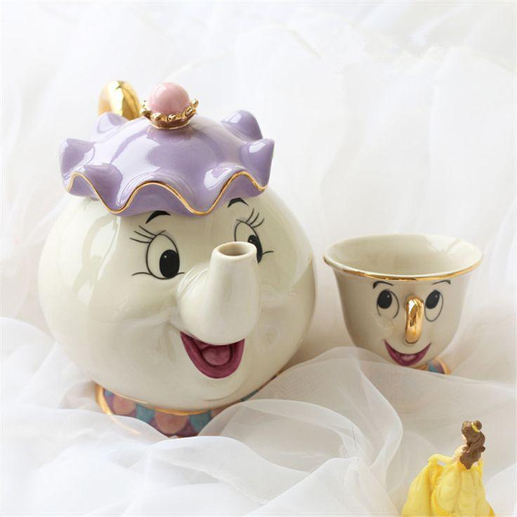 Cartoon Beauty And The Beast Teapot Mug Mrs Potts Chip Tea Pot Cup 2PCS One Set