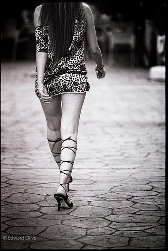Girl walking in street - a photo from 2008 Edward Olive photographer in Madrid Spain