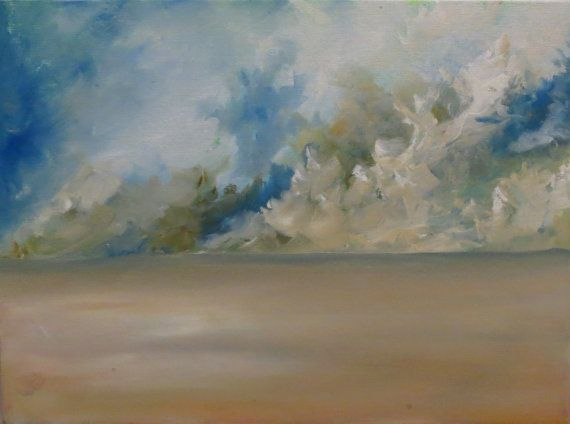 Original abstract oil landscape painting of storm clouds and sand storms by Suzanna Denes