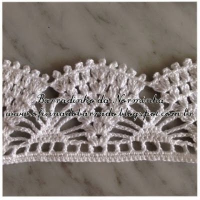 Crochet lace edgings: cluster, shell & spider ~~ OFICINA DO BARRADO: Croche - BARRADINHOS versáteis ...