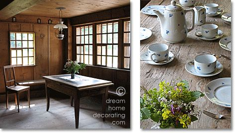 swiss chalet style: rustic living room and coffee table