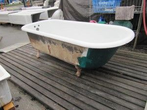Painting the outside of your vintage clawfoot tub.