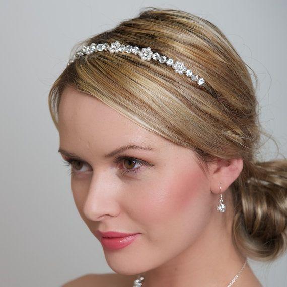 Pearl Flower Headband Swarovski Pearls and Clear by WeddingAndGems, £35.99