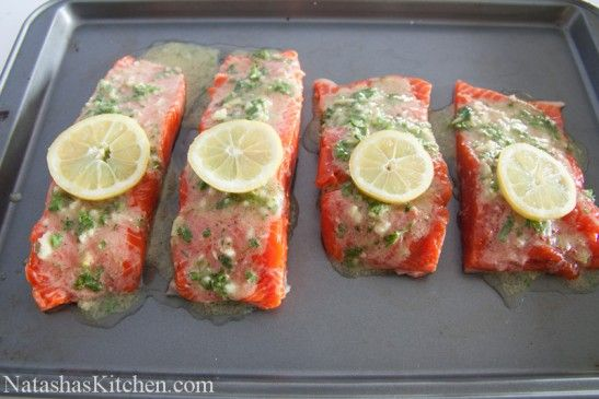 Baked Salmon with Garlic and Dijon - Delicious!! Lemon is completely ...