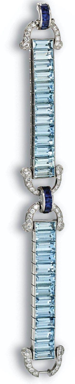 Alternate view: Art Deco aquamarine, sapphire, and diamond bracelet by Cartier, circa 1935. Via Diamonds in the Library.