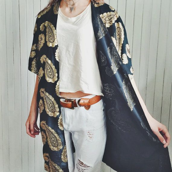 Vintage Gold Dust Paisley Print Duster by MoonInLeoShop on Etsy
