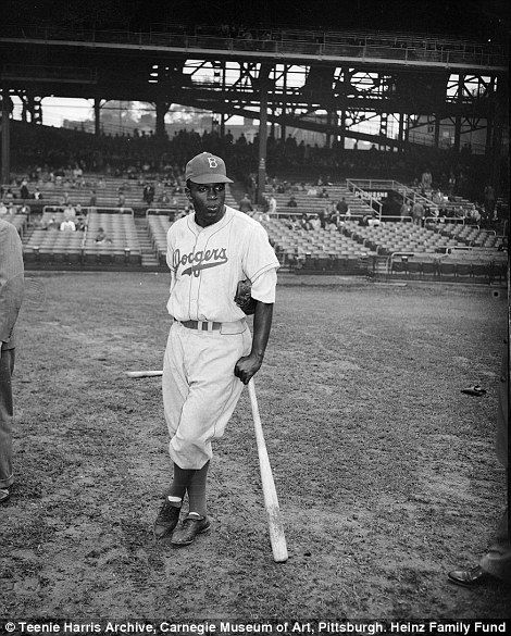 Brooklyn Dodgers baseball player Jackie Robinson (right) at Forbes Field, Oakland, circa 1947