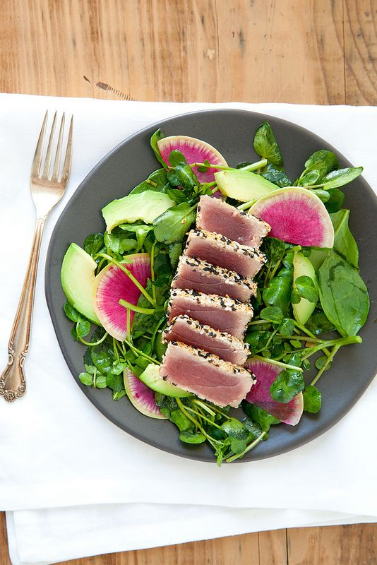 Seared Sesame Tuna Salad with Ginger Soy Vinaigrette