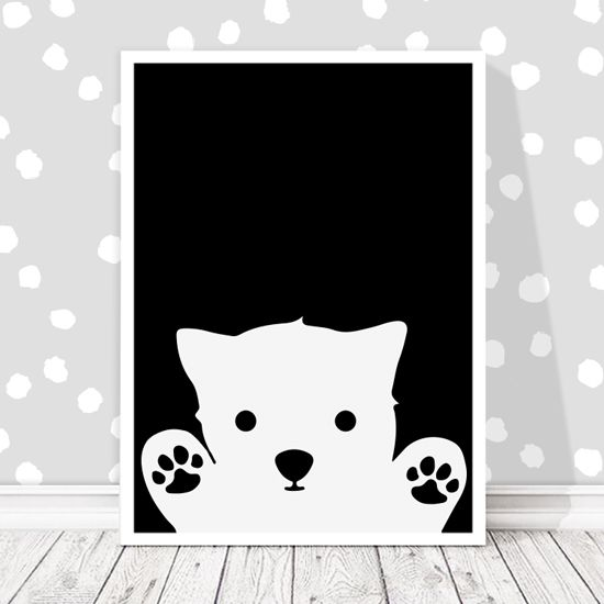 Αφίσα με πολικό αρκουδάκι. Απλότητα & ασπρόμαυρη κομψότητα σε ένα παιδικό δωμάτιο!#paidikesafises #postersforkids #αρκουδάκι #polarbear