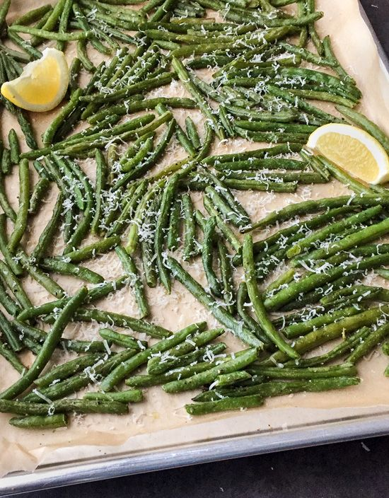 Oven Roasted Green Beans with Parmesan - turn frozen green beans into one fabulous side dish!