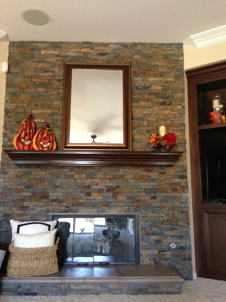 Fall Stacked Stone Fireplace   Love The Colors
