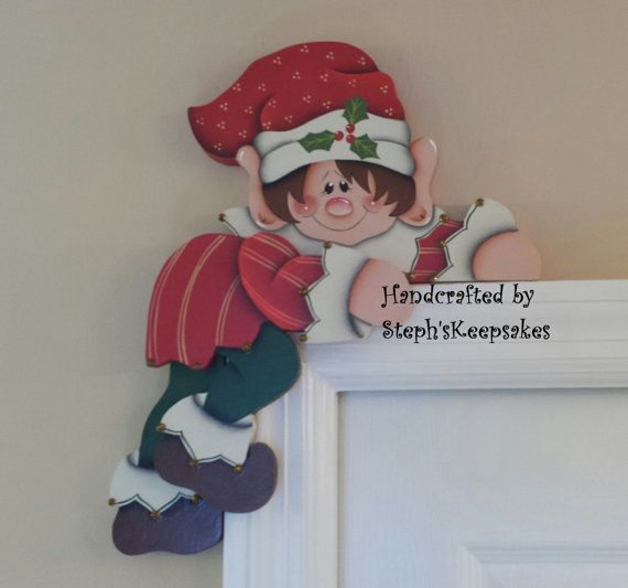 Hand painted Holiday Elf Door Hanger Door by stephskeepsakes,