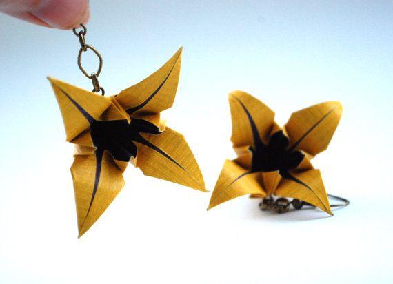 Flower Earrings Origami Earrings Dangle Earrings by MAGcraftsy, $16.99