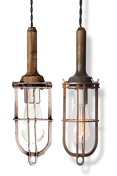 Old cage lights- I wonder if I could do this with some of my dad's old garage ones (pre orange plastic)