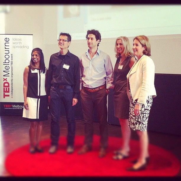 Our curator with today's speakers