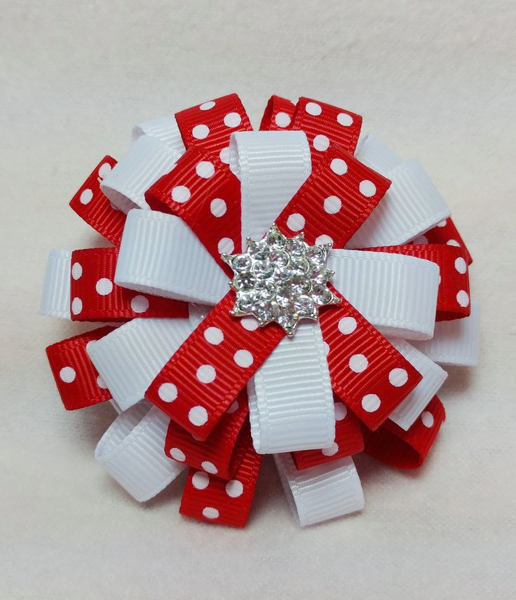 Flower Loop Stacked Hair Bow - Christmas