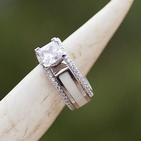 Women's Engagement & Wedding Set - 5mm White Antler Engagement Ring with 1mm Silver stacking bands