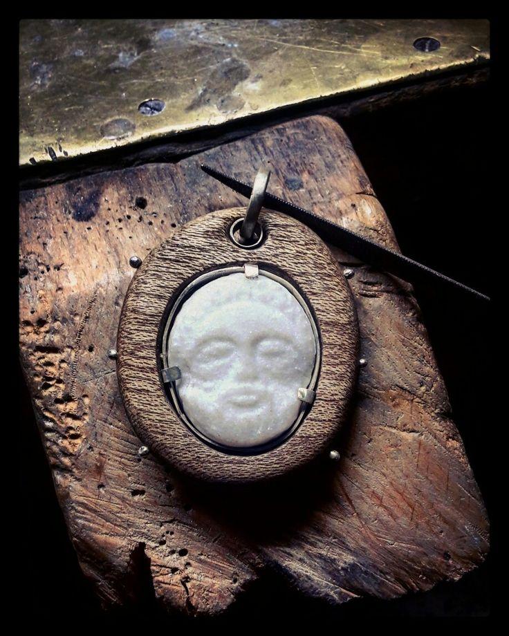 Pendant  (mahogany,marble and silver)