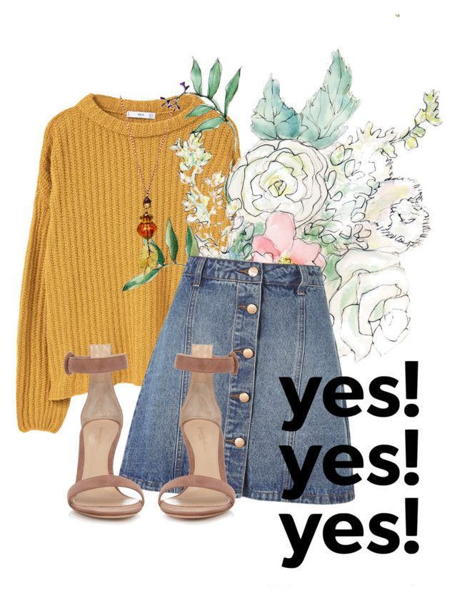 """Mustard and Jeans"" by shasasoso on Polyvore featuring MANGO, Anita & Green and Gianvito Rossi"