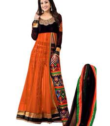Buy ORANGE embroidered net semi-stitched salwar with dupatta anarkali-salwar-kameez online
