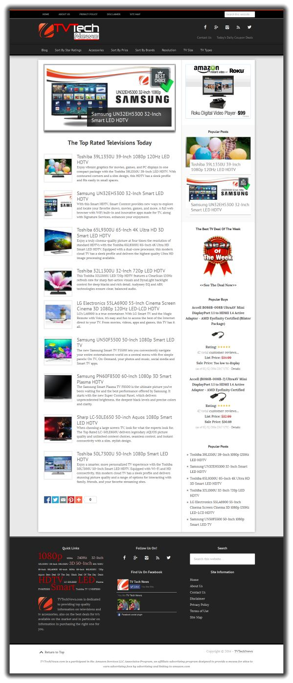 New website just listed targeting the TV niche.