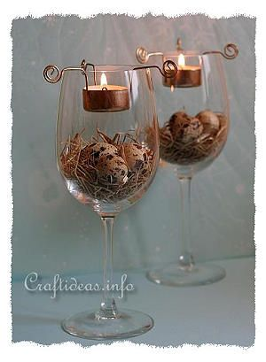 Easter Centerpiece - Wine Glasses with Tea Lights