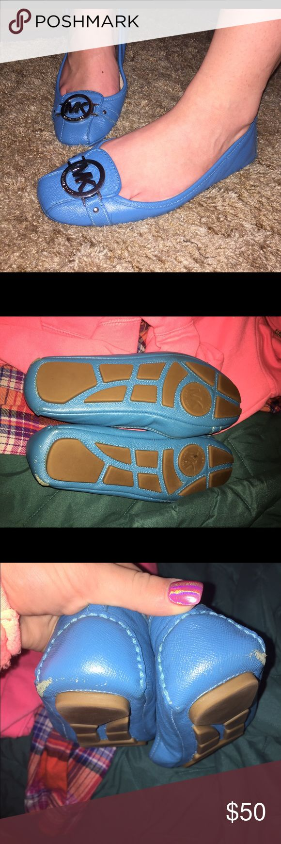 MICHAEL KORS FULTON FLATS AUTHENTIC MK FULTON FLATS IN BRIGHT BLUE WITH SILVER ACCENTS. USED ONLY TWICE. EUC. HAS SLIGHT WEAR ON BOTTOM FROM WEAR OUTSIDE. NORMAL AND NOT NOTICEABLE WHEN ON. SIZE 7. Michael Kors Shoes